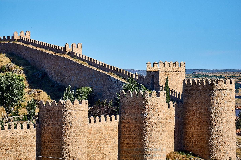 medieval city walls in avila spain