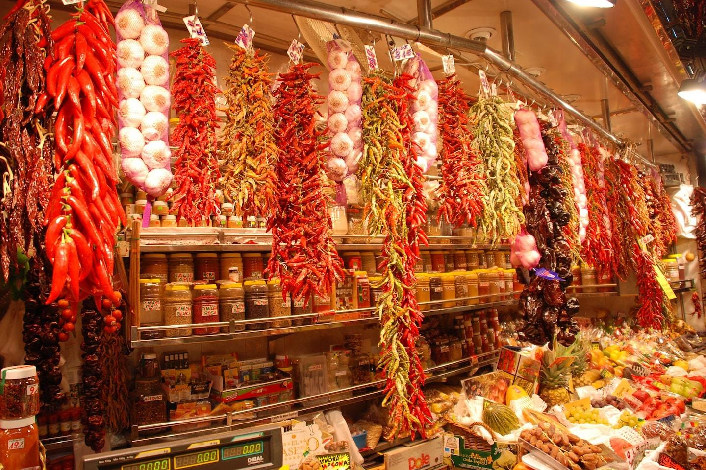 hanging spices in barcelona