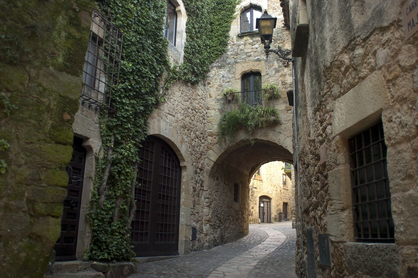 medieval stone buildings with archway and ivy
