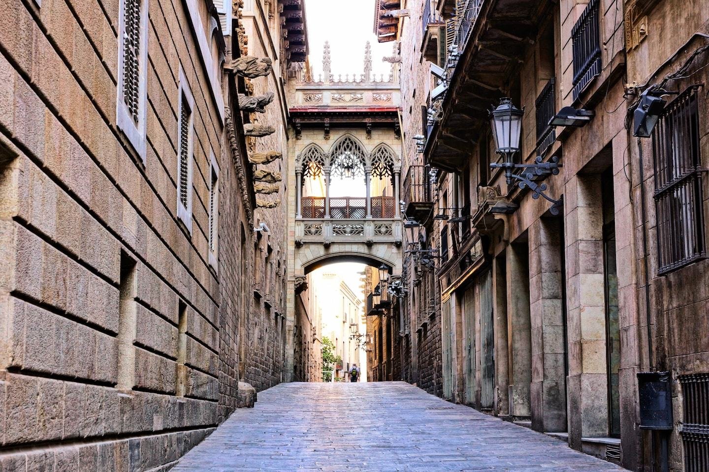 gothic buildings with arch in barcelona
