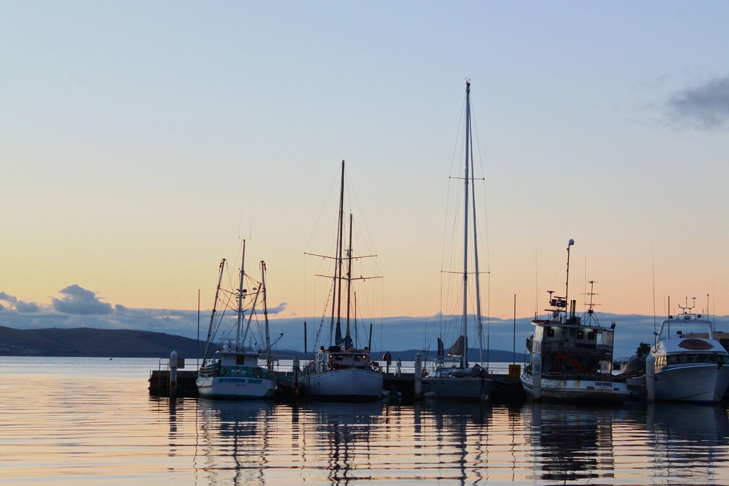 hobart harbour at sunset
