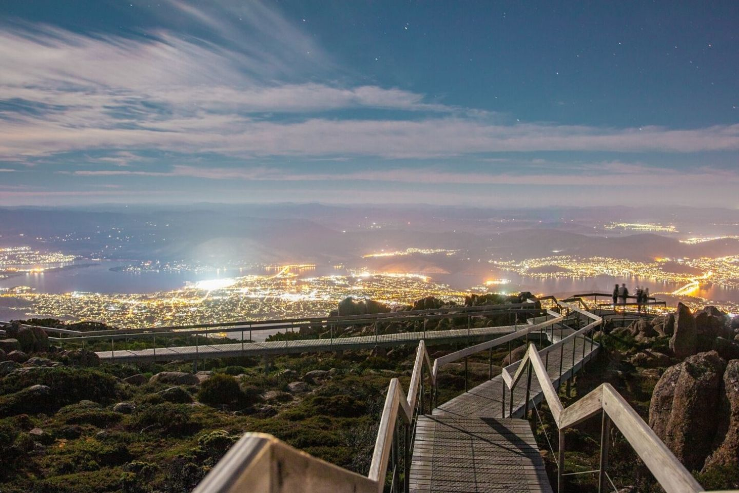 viewpoint at mount wellington at night