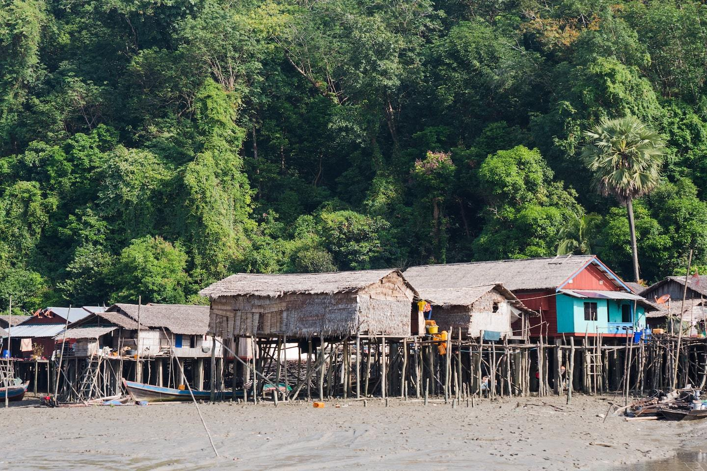 wooden houses on stilts on the beach in front of a forest