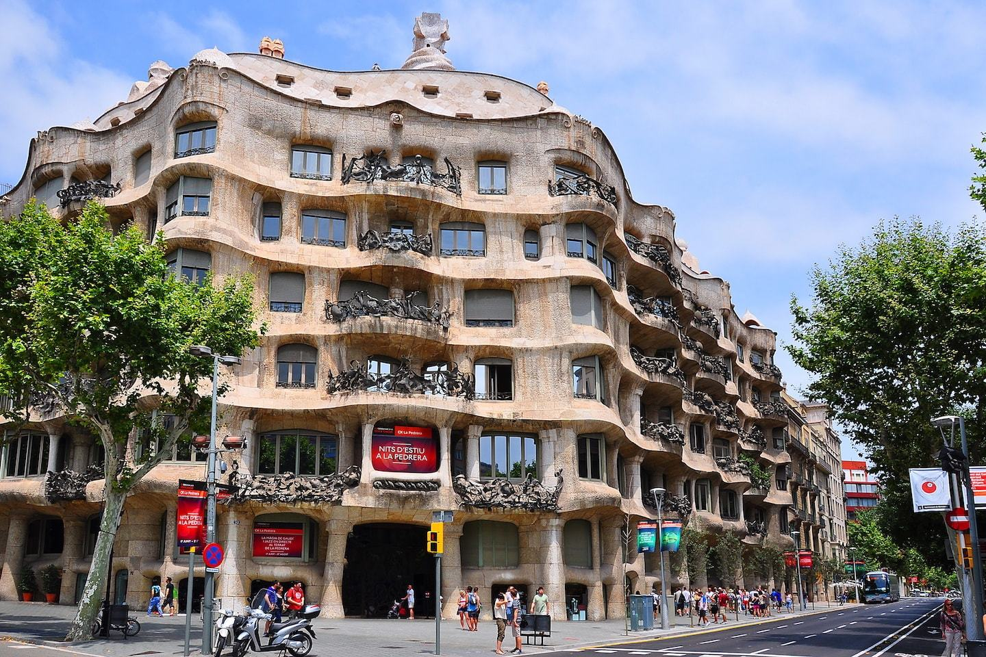 wavy building designed by gaudi in barcelona