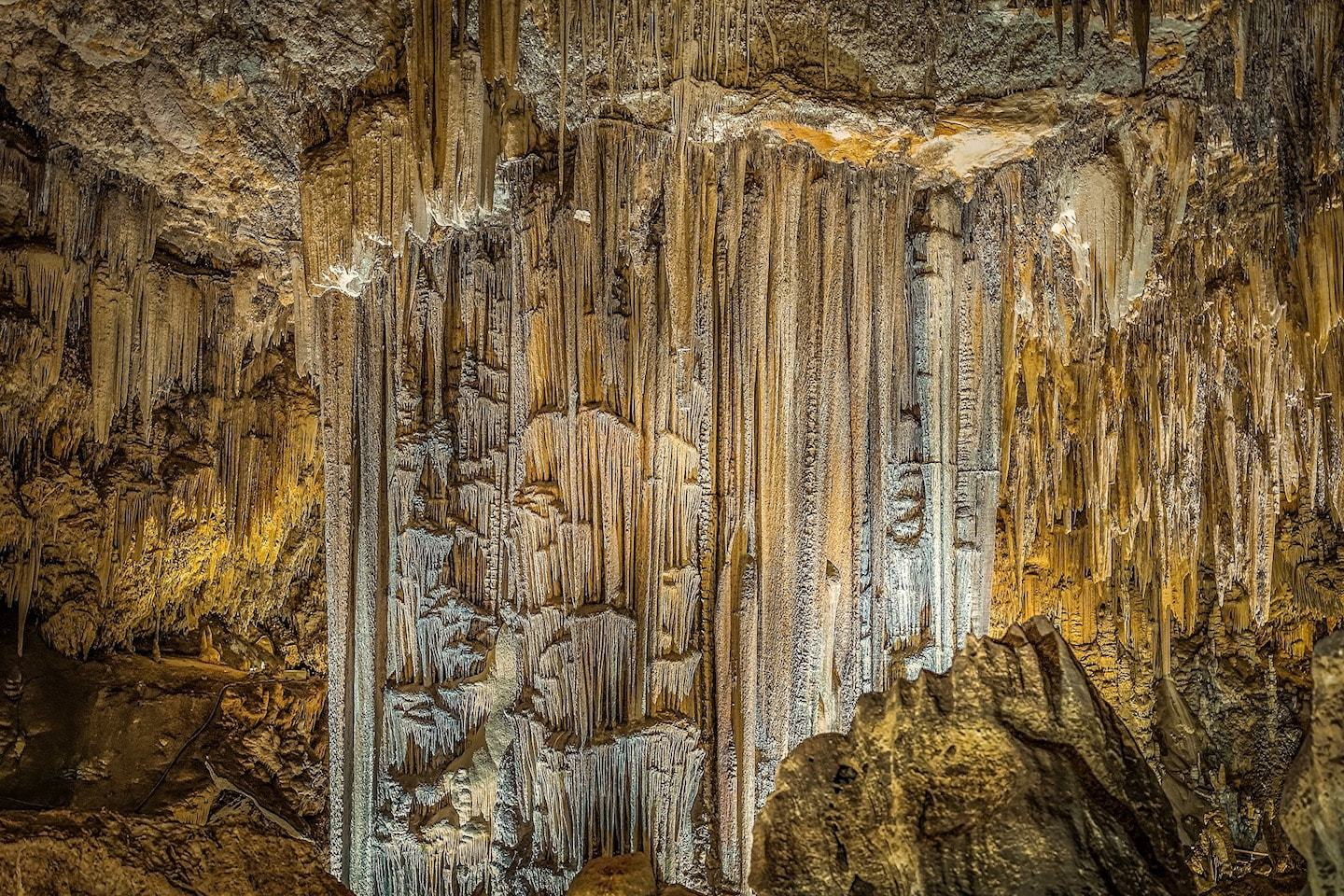 large calcite formations in cave in nerja spain