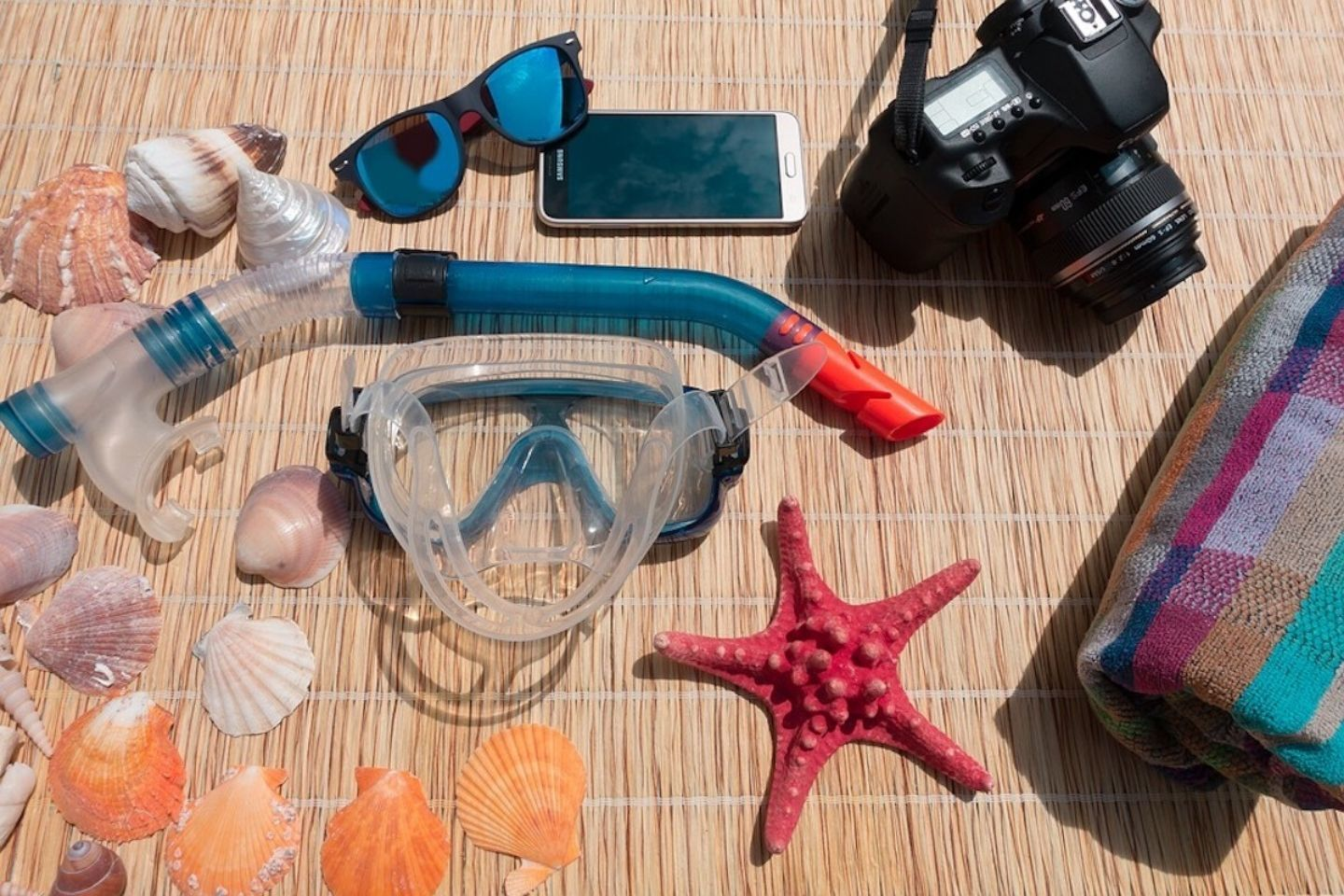 flatlay of diving gear