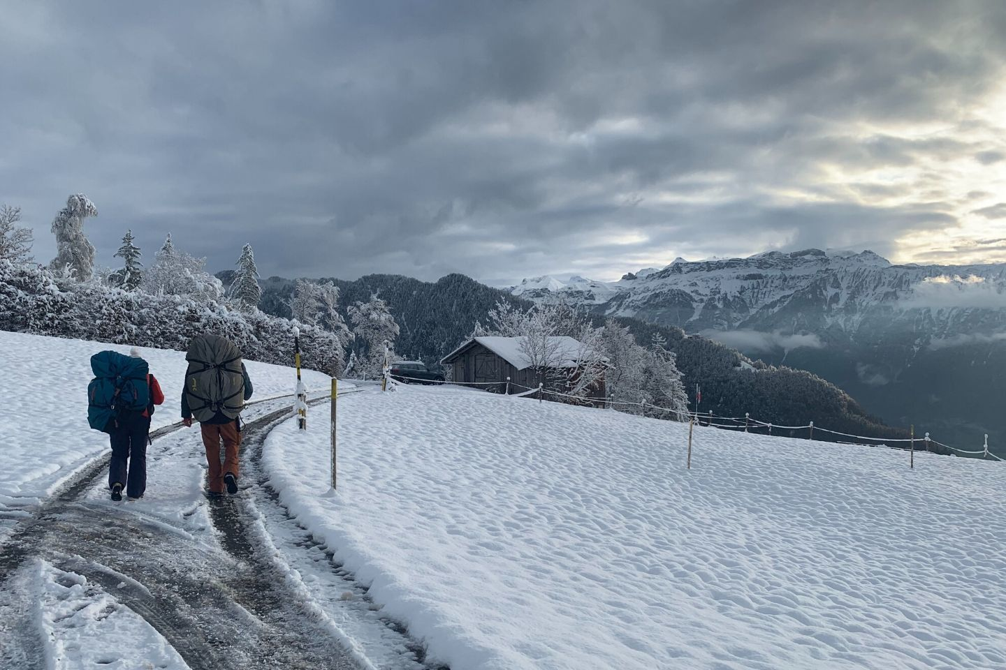 the snow-covered hike to the take-off point