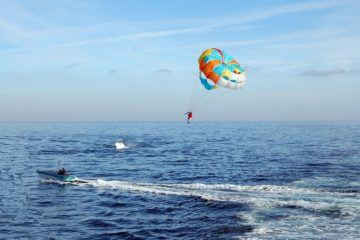 parasailing at sea