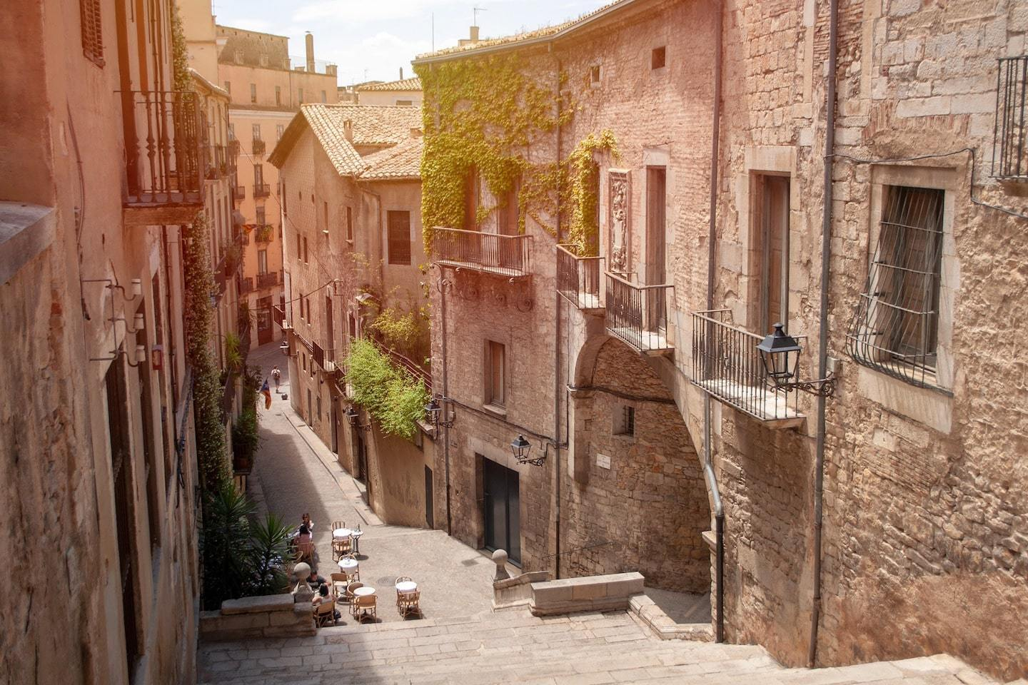 stone buildings and stone steps in girona