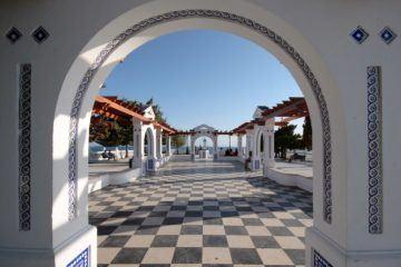 checkerboard pedestrian walk with arch