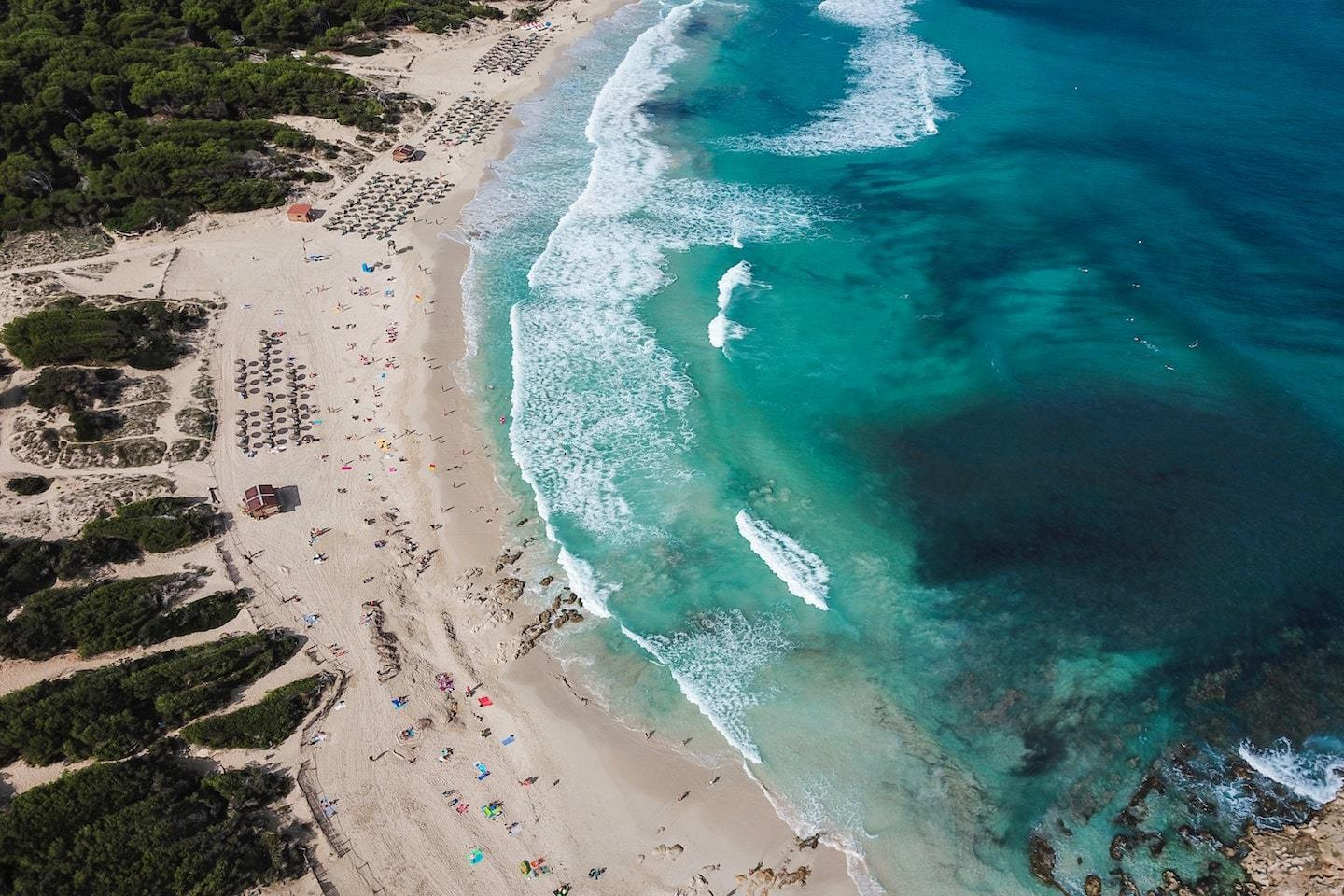aerial view of beach with sand and water