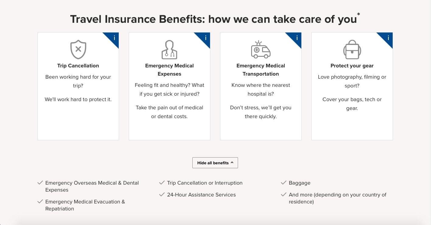 webpage describing benefits of world nomads insurance