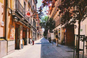 colorful street, half in shadow half in sunlight