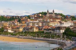 View of San Sebastian with beach, ocean and hill in background
