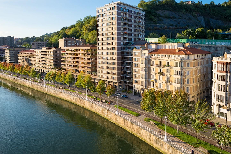 Neighborhood along the river in Bilbao